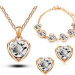 Crystal Heart Earrings Bracelet Pendant Necklace Women Jewelry Set