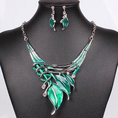 European Fashion Leaves Necklace Earrings Women Jewelry Set