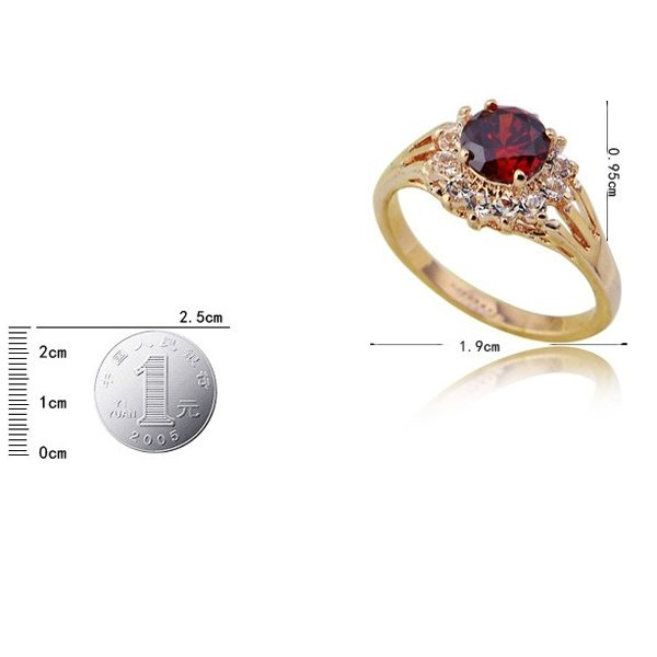 Elegant Classic ITALINA Red Gem Rings 18 K Gold Plated