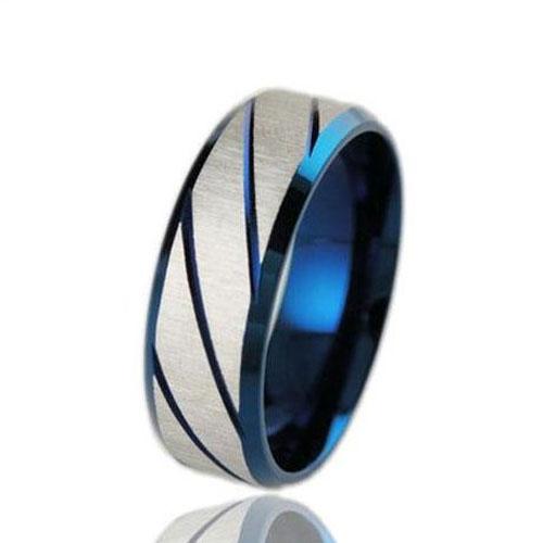 Fabulous Traditional Silvery Striped Metal Ring Men Fashion Jewelry
