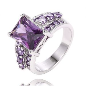 Purple Cubic Zirconia Silver Plated Ring Women Fashion Jewelry