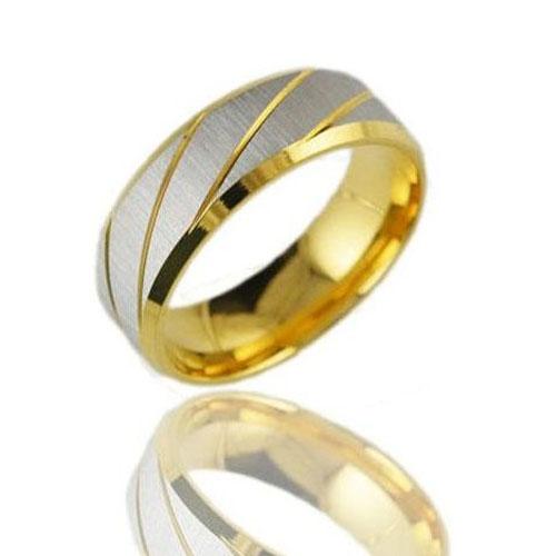 Fabulous Traditional Silvery Striped Metal Men Ring