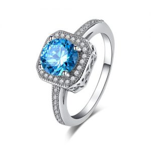 Blue Cubic Zirconia Silver Plated Ring Women Fashion Jewelry
