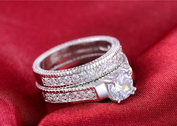 Sparkling Engagement Wedding Cubic Zirconia Women Ring Set
