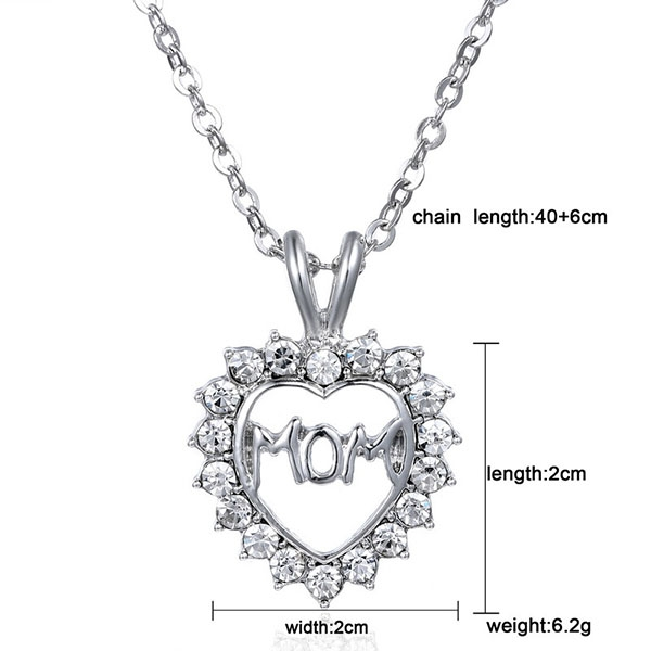 Mother Day Heart Love MOM Austrian Crystal Women Pendant Necklace