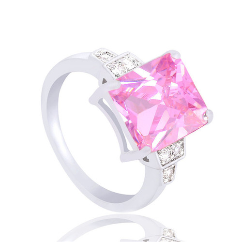 Pink Cubic Zirconia Women Silver Plated Ring Fashion Jewelry