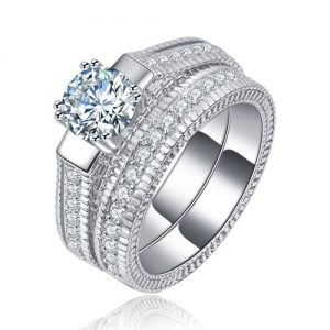 Sparkling Engagement Wedding Cubic Zirconia Women Ring Set