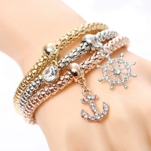 Beautiful Three Ship Anchor Bracelets Set Women Fashion Jewelry