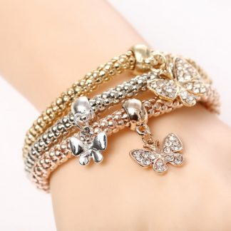 Beautiful Three Butterfly Bracelets Set Women Fashion Jewelry
