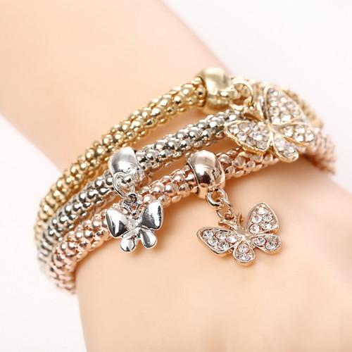Beautiful Three Butterfly Bracelets Set Women Fashion Jewelry