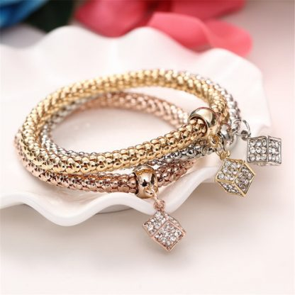 Beautiful Three Cube Bracelets Set Women Fashion Jewelry