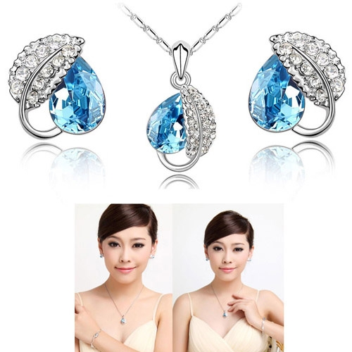 Charming Blue Crystal Rhinestone Women Necklace Earrings Set