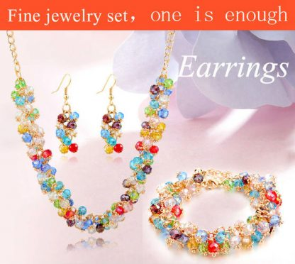 Colorful Crystal Earrings Bracelet Necklace Pendant Set Women Fashion Jewelry
