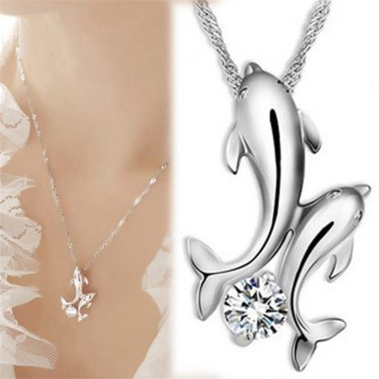 Enchanting Double Dolphins Pendant Necklace Women Fashion Jewelry