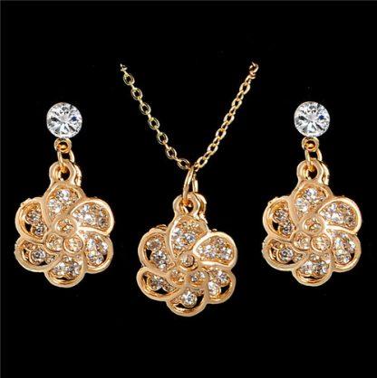 Rhinestone Flower Pendant Necklace Earrings Women Jewelry Set