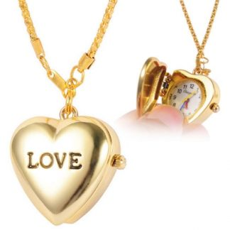 Elegant Golden Love Heart Pocket Watch Women Pendant Necklace