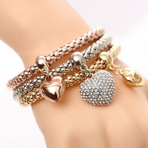 Beautiful Three Heart Bracelets Set Women Fashion Jewelry