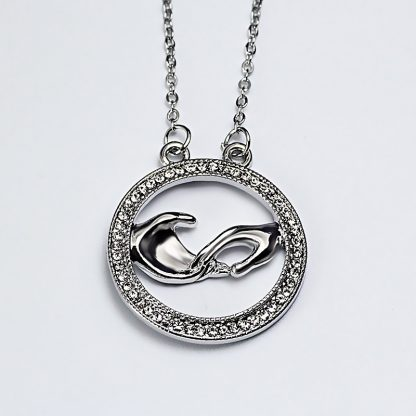 Lovely Rhinestone Hand Round Pendant Necklace Women Fashion Jewelry