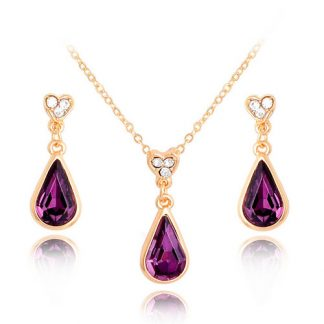 Water Drop Purple Earrings Pendant Necklace Women Fashion Jewelry Set