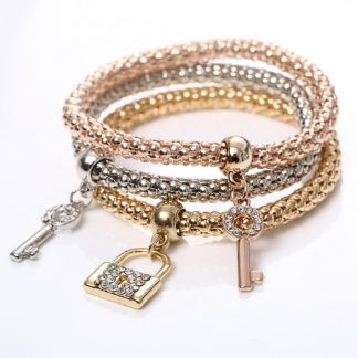 Beautiful Three Key Lock Bracelets Set Women Fashion Jewelry