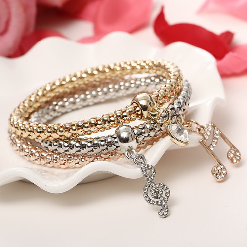 Beautiful Three Music Note Bracelets Set Women Fashion Jewelry