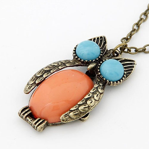 Amazing Round Eyes Owl Long Chain Women Pendant Necklace
