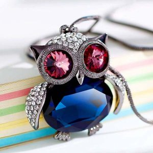 Cute Rhinestone Long Chain Owl Pendant Necklace Women Fashion Jewelry
