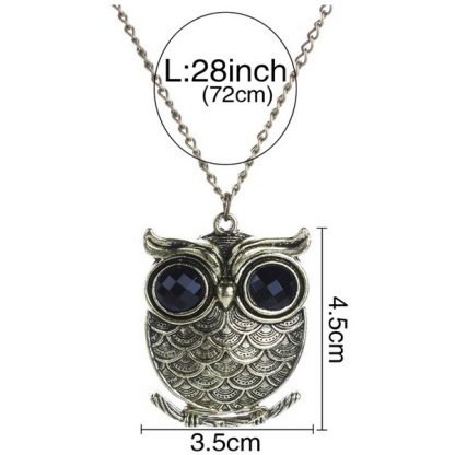 Cute Bronze Owl Long Chain Women Pendant Necklace