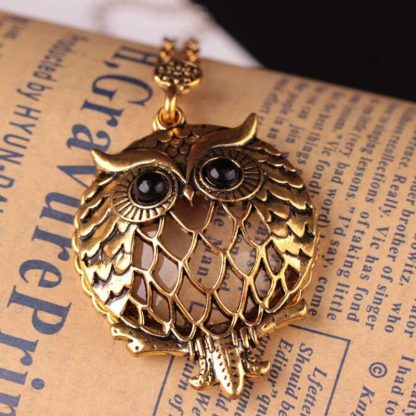 Gold Owl Rhinestone Multifuncational Magnifier Pendant Necklace