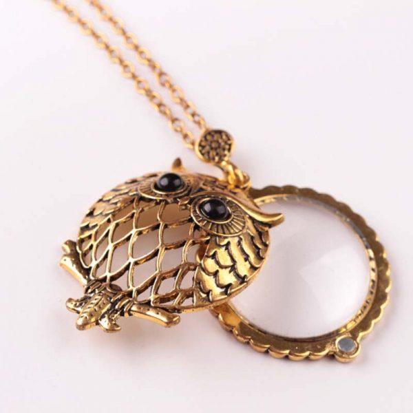 Gold Owl Retro Multifuncational Magnifier Pendant Necklace