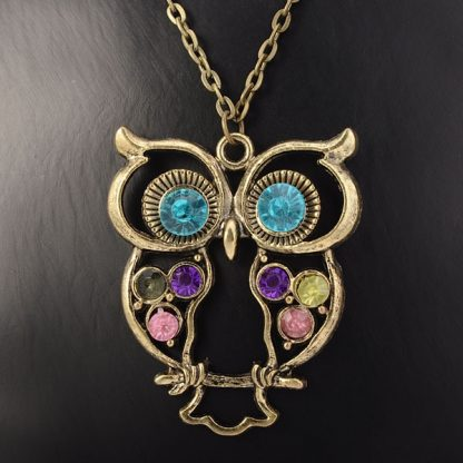 Beautiful Rhinestone Bronze Hollow Owl Women Pendant Necklace