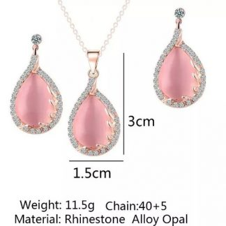 Gorgeous Crystal Opal Women Earrings Pendant Necklace Set
