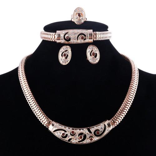 Elegant Necklace Earrings Bracelet Ring adjustable Women Jewelry Set