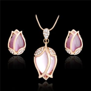 Austrian Crystal Tulip Flower Women Earrings Necklace Pendant Set