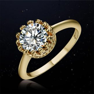 Clear Shiny Cubic Zirconia Crystal Ring Women Fashion Jewelry