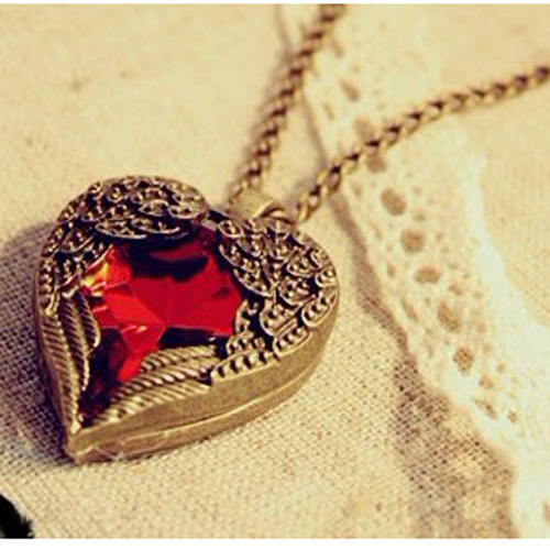 Classic Charming Bronze Ruby Heart Necklace Women Fashion Jewelry