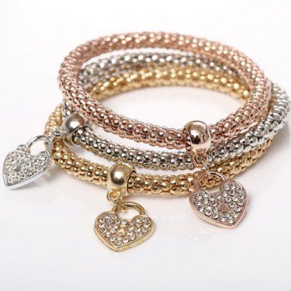 Beautiful Three Crystal Heart Bracelets Set Women Fashion Jewelry