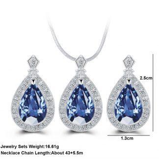Lovely Blue Drop Earrings Pendant Necklace Women Fashion Jewelry set