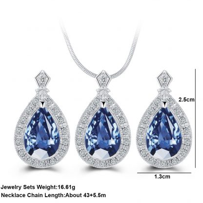 Lovely Blue Drop Earrings Pendant Necklace Women Fashion Jewelry set