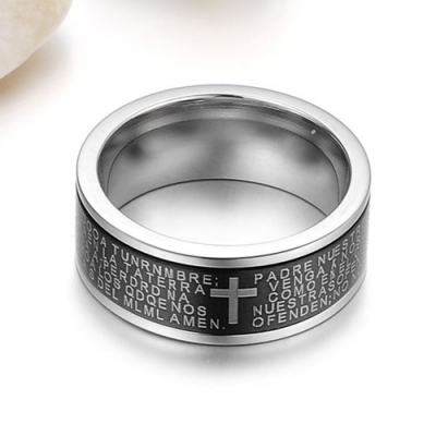 Amazing Cross Bible Ring Men Fashion Jewelry-Black