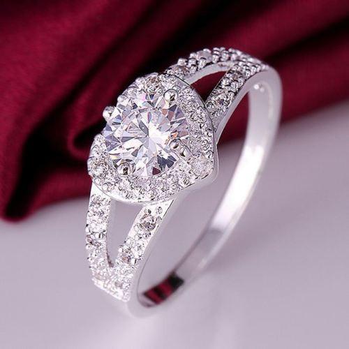 Gorgeous Cubic Zirconia Heart Ring Women Fashion Jewelry
