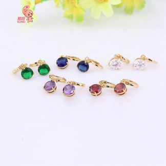 Sweet Crystal Round Drop Earrings Women Fashion Jewelry