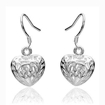 Elegant Hollow Heart Earrings Silver Plated Women Fashion Jewelry