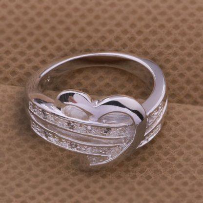 Lovely Zirconia Silver Plated Heart Shaped Ring Women Fashion Jewelry