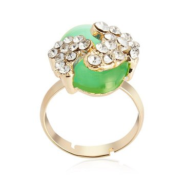 Fashion Exquisite Crystal Opal Adjustable Ring Woman Fashion Jewelry