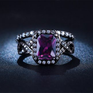 Amazing Purple Cubic Zirconia Silver Plated Ring Women Fashion Jewelry
