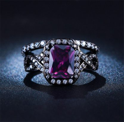 Amazing Purple Cubic Zirconia Silver Plated Ring Women Fashion Jewelry