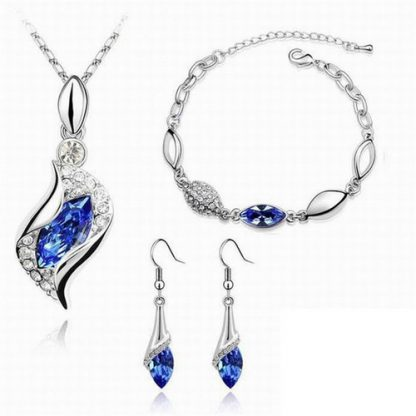 Lovely Cubic Zirconia Necklace Earrings Bracelet Jewelry Set