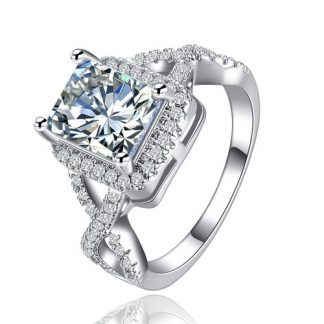 Lovely Square Cubic Zirconia Silver Plated Ring Women Fashion Jewelry