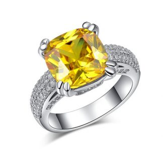 Yellow Cubic Zirconia Silver Plated Ring Women Fashion Jewelry